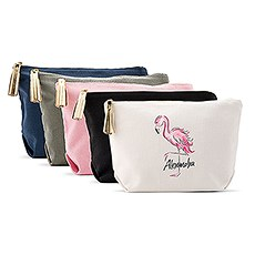 Large Personalized Canvas Makeup Bag - Flamingo