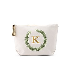 Small Personalized Canvas Makeup And Toiletry Bag For Women - Love Wreath Monogram