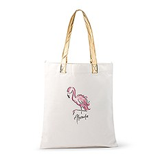 Personalized Cotton Canvas Fabric Tote Bag With Gold Strap - Flamingo