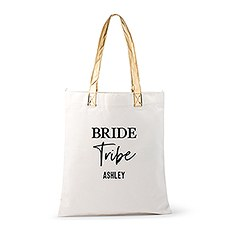 Personalized Cotton Canvas Fabric Tote Bag With Gold Strap - Bride Tribe