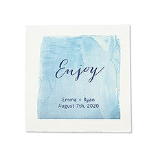 Personalized Color Printed Wedding Napkins - Aqueous