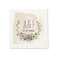 Personalized Color Printed Wedding Napkins - Natural Charm