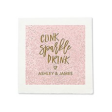 Personalized Color Printed Wedding Napkins - Clink Sparkle Drink