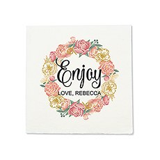 Personalized Color Printed Wedding Napkins - Modern Floral Wreath