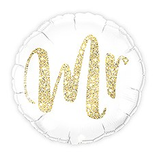 Mylar Foil Helium Party Balloon Wedding Decoration - White with Gold Mr. Glitter