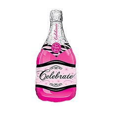 Mylar Foil Helium Party Balloon Decoration - Magenta Pink Champagne Bottle