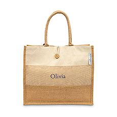 Large Personalized Reusable Fabric Beach Tote Bag - Burlap Ombre