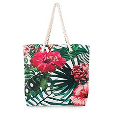 Personalized Extra-Large Cotton Canvas Fabric Beach Tote Bag - Tropical Hibiscus