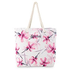Personalized Extra-Large Cotton Canvas Fabric Beach Tote Bag - Pink Floral Watercolor