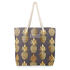 Extra-Large Personalized Cotton Canvas Fabric Beach Tote Bag - Gold Pineapple
