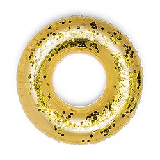 Giant Inflatable Gold Glitter Tube Pool Float Toy