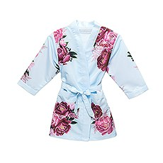 Personalized Flower Girl Satin Robe with Pockets - Light Blue & Red Blissful Blooms