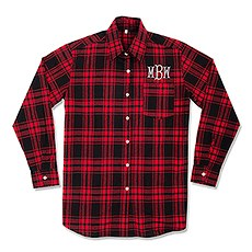 Personalized Embroidered Red Plaid Button Down Shirt for Bridesmaids