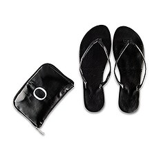 d6962bc82 Personalized Foldable Flip Flop Wedding Favors - Black