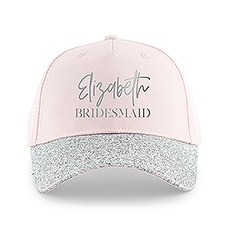 Women's Wedding Party Glitter Hats - Script & Block