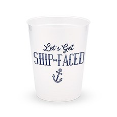 Personalized Frosted Plastic Party Cups - Ship-Faced - Set of 8