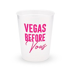 Personalized Frosted Plastic Party Cups - Vegas Before Vows - Set of 8
