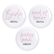 Personalized Bridal Party Wedding Pins - Team Bride
