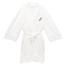 Women's Personalized Jersey Knit Robe with Lace Trim - White