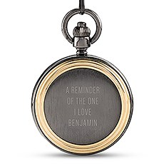 Personalized Gold Frame Gunmetal Pocket Watch & Fob - Custom Text