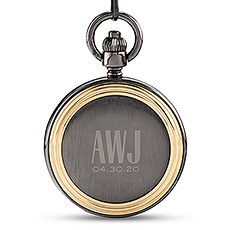 Personalized Gold Frame Gunmetal Pocket Watch & Fob - Sans Serif Monogram