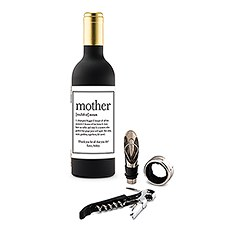 Personalized Wine Bottle Shaped Corkscrew Gift Set - Mother