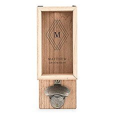 Personalized Wall Mounted Bottle Opener & Bottle Cap Holder - Diamond Emblem Monogram