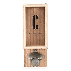 Personalized Wall Mounted Bottle Opener & Bottle Cap Holder - Sans Serif Monogram