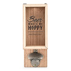 Personalized Wall Mounted Bottle Opener & Bottle Cap Holder - Makes Me Hoppy