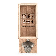 Personalized Wall Mounted Bottle Opener & Bottle Cap Holder - Drink Beer