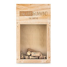 Personalized Wooden Wine Cork Holder Shadow Box - Uncork & Unwind