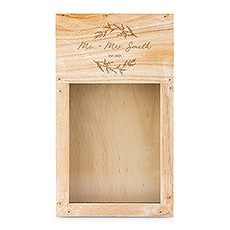 Personalized Wooden Wine Cork Holder Shadow Box - Signature Script