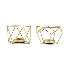 Small Geo Metal Tealight Candle Holder Set of 2 - Gold