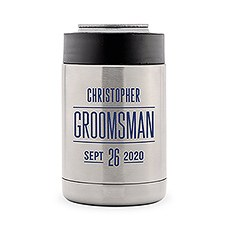 Custom Stainless Steel Insulated Beer Can Cooler - Sans Serif Groomsman