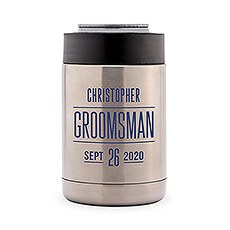 Custom Stainless Steel Insulated Beer Can Koozie - Sans Serif Groomsman