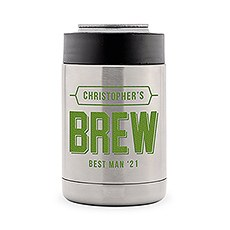 Custom Stainless Steel Insulated Beer Can Cooler - Brew