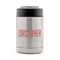 Custom Stainless Steel Insulated Beer Can Cooler - Modern Sans Serif