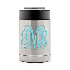 Custom Stainless Steel Insulated Beer Can Cooler - Script Monogram