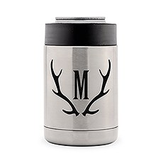 Custom Stainless Steel Insulated Beer Can Cooler - Antler Monogram