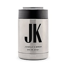 Custom Stainless Steel Insulated Beer Can Cooler - Sans Serif Monogram