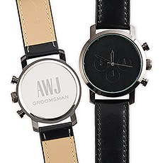 Personalized Men's Black Wristwatch - Sans Serif Monogram