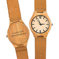Personalized Men's Wooden Wristwatch - Custom Serif Font