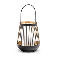 Large Geometric Metal Wire Hanging Lantern - Black & Gold
