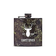 Personalized Camo Hip Flask Wedding Gift - Deer