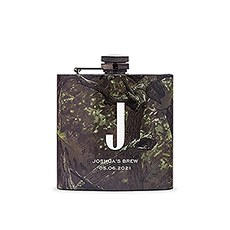 Personalized Camo Hip Flask Wedding Gift - Sans Serif Monogram