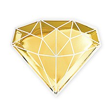 Large Diamond Disposable Paper Party Plates - Gold - Set of 8