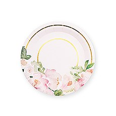 Small Round Disposable Paper Party Plates - Floral Garden Party - Set of 8