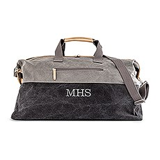 Large Personalized Canvas Travel Duffle Bag - Black & Gray
