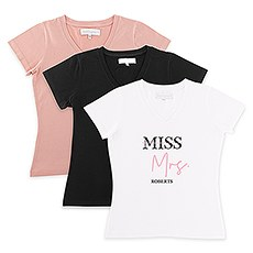 Personalized Bridal Party Wedding T-Shirt - Miss to Mrs