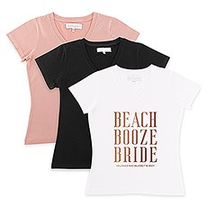 Personalized Bridal Party Wedding T-Shirt - Beach, Booze, Bride